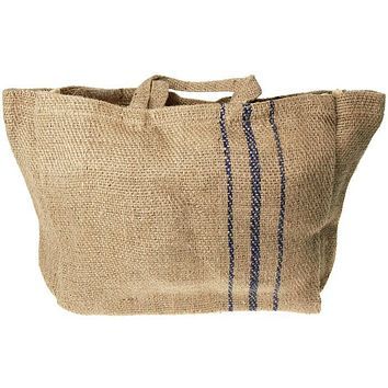 Hessian Burlap Basket Bag with Blue Lines, 16-inch