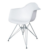 Fine Mod Imports Home Indoor Livingroom WireLeg Dining Arm Chair White