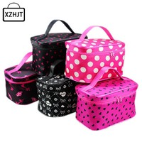 Women Cosmetic Bag Harajuku Striped Dots Makeup Bag Portable Travel Toiletry Handbag Make Up Organizer Box Case