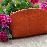 Italian Leather Handmade Pouch/Wallet/Make-up Pouch- O102