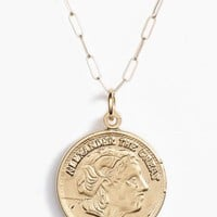 Gold Alexander the Great Coin Long Necklace