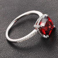 Cushion Garnet Engagement Ring Pave Diamond Wedding 14K White Gold 8x8mm