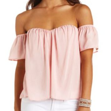 Off-the-Shoulder Sweetheart Swing Top by Charlotte Russe - Blush