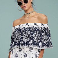 Tripoli Blue and White Print Off-the-Shoulder Top