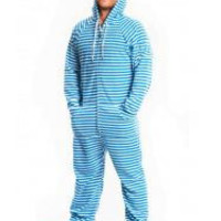 Blue Striped Adult Footed Pajamas