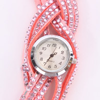 Pink Faux Suede Rhinestone Decor watch