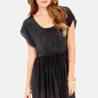 Mink Pink Counting Stars Embroidered Black Dress