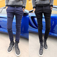 Winter Men Skinny Fit Casual Pants with Extra Warmth Fleece Inside
