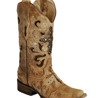 Corral Studded Cross Inlay Cowgirl Boots - Square Toe - Sheplers