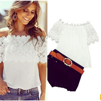 Sexy Off the Shoulder Lace Cropped Tops Summer T Shirt Hollow Out Crochet Lace Crop Top-trq = 1916598340