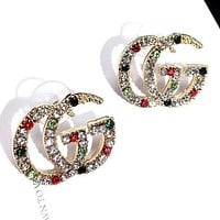 GG new personality exaggerated wild sparkling color diamond crystal fashion letter trend earrings Ear studs