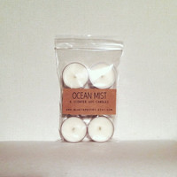 6 Tea Lights: Ocean Mist | Soy Tealights, Eco Friendly Organic Candles, Tealight Set, Gifts for Her Gifts for Him