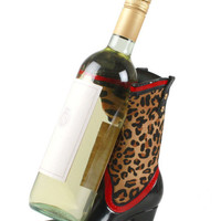 Leopard Cowgirl Boot Wine Caddy