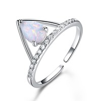 Sterling Silver 0.6ct Drop Opal Ring