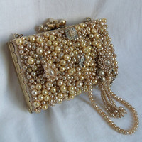 Couture Bridal Clutch Pearl beaded vintage by HopscotchCouture
