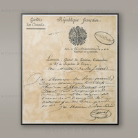 1800 LETTER to the FRENCH MINISTER of War, Old Paris Letter, Rustic Decor, Chic Decor, Paris Print, French Decor, Wall Art, Large Poster