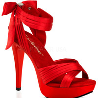 Red Satin Cross Strap Fabulicious Sandal Heels