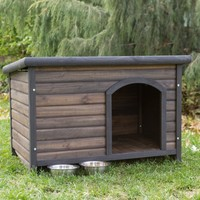 Boomer & George Log Cabin Dog House with FREE Dog Bowls | www.hayneedle.com