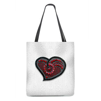 Red Mosaic Heart Tote Bag with white crackle background