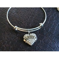 Blessed Crystal Heart Charm Silver Expandable Bangle Bracelet Gift Adjustable One Size fits all Unique Fun Trendy Meaningful