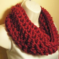 Dark Red Burgundy Cowl Infinity Circle Scarf Neckwarmer Extra Thick and Bulky