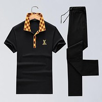 Boys & Men Louis Vuitton Shirt Top Tee Pants Trousers Set Two-Piece Sportswear