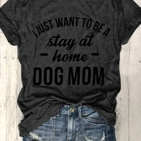 Dog Mom O-Neck Short Sleeve T-Shirt - Bellelily