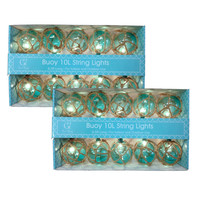 Aqua Nautical Buoy Globe String Lights - Two Sets of 10