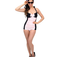 Vintage 1950s Style Black & Pink Bow Two Tone Swimsuit