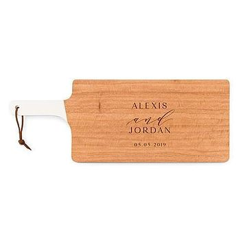 Personalized Wooden Cutting and Serving Board with White Handle - Bold Script (Pack of 1)
