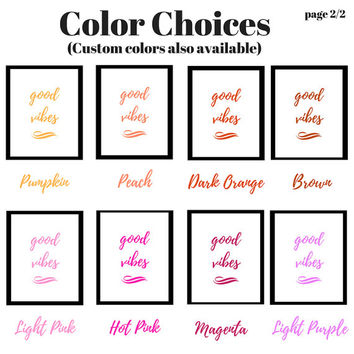 Good Vibes | Printable Quote | Minimalist Print | Digital Download Print | Art | Binder Cover | Hippie | Peace and Love | Custom Colors