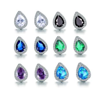 Zirconia Pear Halo White Gold Cz Stud Earrings for Women - Six Gemstone Colors