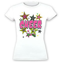 Printed Pink Cheer with Stars Fitted Jersey T-Shirt Designed for Cheerleaders