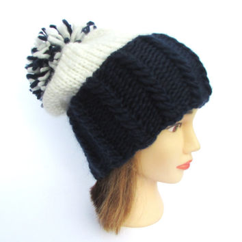 Penn state hat navy and white team hat slouchy beanie hats Irish knit large pompom fun knitted wool chunky hat menu women teen supporters