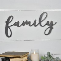 """Tin Family Script 19"""" Cut-out Sign"""