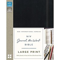 NIV, Journal the Word Bible, Large Print, Hardcover, Black: Reflect, Journal, or Create Art Next to Your Favorite Verses Large Print