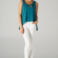 Teal Sleeveless Hi-Lo Top with Piped Necklace Detail