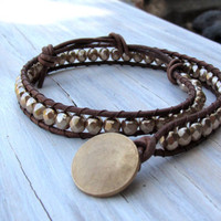 Leather Bracelet Wrap, Boho Style, Beaded Leather Double Wrap, Gold, Glass Pearls, Gifts for her, Stacking Bracelets, Gifts under 40