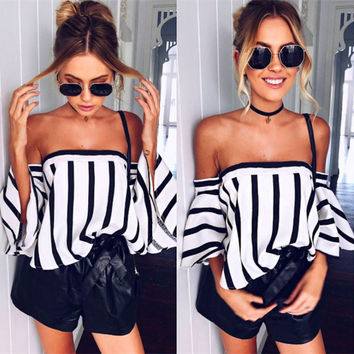 Fashion Stripe Print Off Shoulder Middle Sleeve Pagoda Sleeve Women's T-shirt Tops