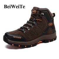 BeiWeiTe Winter Men's Tourism Hiking Boots Trekking Breathable High Top Sneakers For Men Walking Wearable Climbing Outdoor Shoes