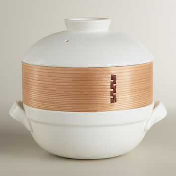Ceramic Clay Pot with Bamboo Steamer - World Market