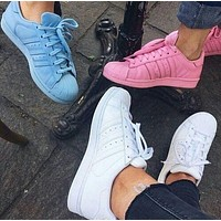 Adidas Shell-toe Sneakers Sport Shoes Pure Color Flats-5