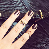 3 Gold Knuckle Rings, Tiny Bow Midi Rings, Midi Ring, Above Knuckle ring, , twist ring