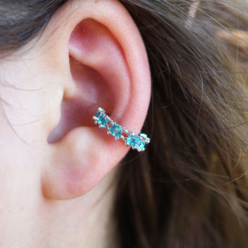 Aqua Blue Crystal Non Piercing Ear Cuff
