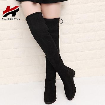 2017 Slim Boots Sexy Over The Knee High Suede Women Snow Boots Women's Fashion Winter Thigh High Boots Shoes Woman