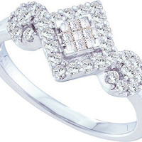 Diamond Ladies Fashion Ring in 14k White Gold 0.48 ctw