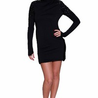 Beautifly Luxy Women's Black Long Sleeve Embellished Shoulder Open Back Dress