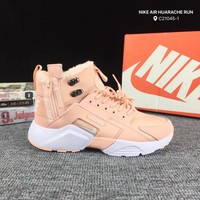 KUYOU N264 Nike Air Huarache High-top Plus Velvet Double Zipper Running Shoes Pink