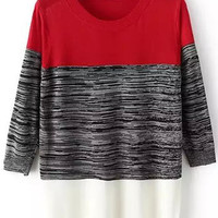 Color Block Knit Long Sleeve Sweater