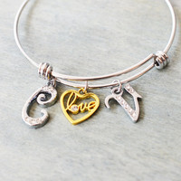 initial bangle, anniversary gift, stacking bracelet, personalized couple gift, bridesmaid gift, expendable silver bangle, heart jewelry